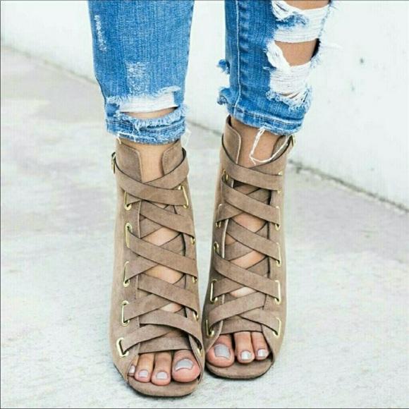 Taupe Lace Up Chunky Heel Peep Toe